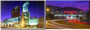 Left: 1987's Nashville Convention Center on Broadway.  Right: 1962's Municipal Auditorium on James Robertson Pkwy.