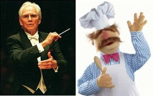 Former Nashville Symphony conductor, the late Kenneth Schermerhorn (left), and his second cousin, Muppet chef The Swedish Chef (right)