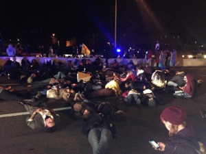 Protesters lie-down in Interstate 24 near LP Field, 11/25/14