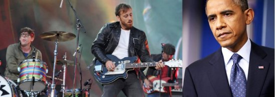 President Barack Obama (right) is reportedly massively bummed to have missed rock group The Black Keys' (left) performance at Bridgestone Arena last evening due to a scheduling mix-up.